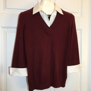 Van Heusen Shirt Collar Sweater 3/4 Sleeve